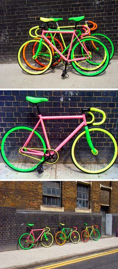 Check out these amazing Flouro Bikes! You should be seen by motorists with these sets of wheels…