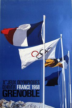 1968 Jeux Olympiques Grenoble Poster - Flags Drawing