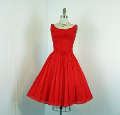 1960s Dress  Vintage 60s Dress  Red Chiffon Party by jumblelaya