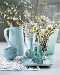 Pale turquoise on the table