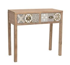 WOODEN CONSOLE TABLE IN BEIGE-GREY COLOR 80Χ35Χ76 - Drawers - Consoles - FURNITURE