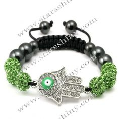 Shamballa Bracelet, alloy hamsa & clay rhinestone beads, adjustable