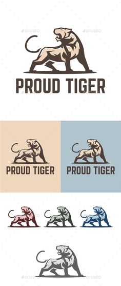 Proud Tiger Logo Design Template Vector #logotype Download it here: http://graphicriver.net/item/proud-tiger/13030588?s_rank=888?ref=nexion