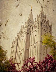 Vintage Blossom Salt Lake City LDS Temple by ciaobellamoments. $22.00, via Etsy.