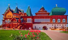 Surreal 1667 Russian fairy tale castle rebuilt and restored in 2010 overlooking the Moscow River in Kolomenskoye.  There's a very Pixar quality to the whole thing.