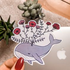 Handmade whale sticker with Flowers (Waterproof) Funny Doodles, Tumblr Stickers, Sticker Ideas, School Counselor, Sticker Shop, Art Drawings Sketches, Character Design Inspiration, Laptop Stickers, Pet Shop