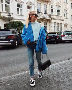 e13d937b6c H&M Blue Fake Fur Jacket, Ysl Bag, Platform Vans styled by Romina M. in  Blue Shades