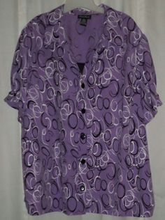 Maggie Barnes Button Down Layered 3x 26/28 4x Purple Black Career Wear Plus Size #PlusSize #ThePlusSide