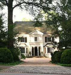 Things That Inspire: A classic: White house, black shutters, double bay windows Black Shutters, White Houses, Classic House, House Goals, Architecture Details, My Dream Home, Old Houses, Curb Appeal, Exterior Design