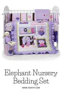 Crib Bedding Sets for Girls with Bumper Purple Owl and Elephant Nursery Bedding Elephant Nursery Bedding, Nursery Bedding Sets, Crib Bumpers, Crib Mattress, Girls Bedding Sets, Crib Sets, Portable Crib, Girl Cribs, Disney Nursery