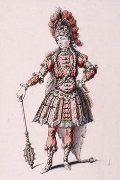 Pen and ink costume design by Jean Berain, for Hercules in the opera Atys, Paris, France, 1676. Museum no. S.1108-1982