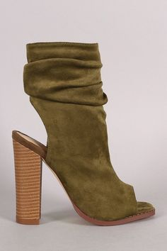 Women's Slouchy Mid Stacked Heel Chunky Closed Round Toe Short Ankle Booties