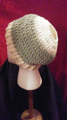 Messy Bun Crochet Slouchy Beanie, Ponytail Crochet Beanie, Light Sage Green & Off White Slouchy, Ready to Ship, FREE SHIPPING, B74-17-0222 by NoreensCrochetShop on Etsy