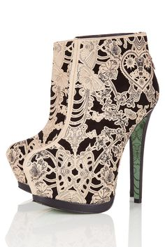 Lace Wing Ankle Boots by CJG