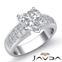 Brilliant Heart Diamond Invisible Set Engagement Ring EGL F SI1 Platinum 1 86 Ct | eBay