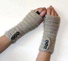 Long Crochet Arm Warmers PDF PATTERN  - Button up Fingerless Gloves - Hobo Gloves - Texting Gloves