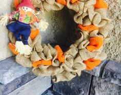 Rustic Burlap Wreath, Scarecrow Wreath, Fall Wreath, Farmhouse Wreath, Autumn Wreath, Front Door Wreath, Orange Wreath