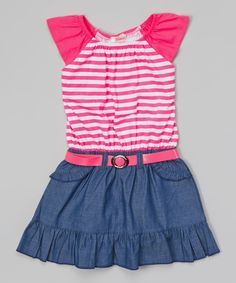Another great find on #zulily! Pink Stripe Chambray Belted Dress - Toddler & Girls by Unik #zulilyfinds