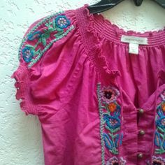 Boston Proper Hot Pink Embroidered Peasant Blouse Boston Proper, size 4, in excellent condition. This boho top is so summery in bright pink and colorful embroidered flowers. Details include buttons done front and elastic neckline, bottom hem, and sleeves. Please ask any and all questions before purchasing. No trades. Make a reasonable offer. Thanks! Boston Proper Tops Blouses