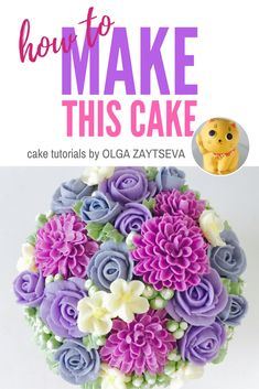 How to make Buttercream dahlia and rose flower cake - Cake decorating tutorial by Olga Zaytseva. Learn how to make very trendy buttercream dahlia, roses and blossoms, and create this gorgeous flower cake. Also you will learn how to layer and frost tall cake with perfectly smooth sides and create buttercream ombre effect. #cakedecorating #cakedecoratingtutorial #buttercreamflowercake #buttercreamflowers