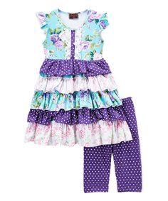 Purple Floral Tiered Dress Top & Leggings Set