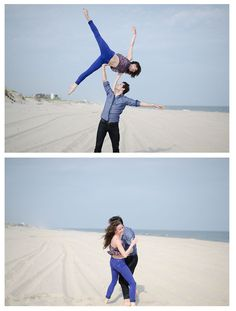 Tiler Peck and Robert Fairchild, just playing around on the beach