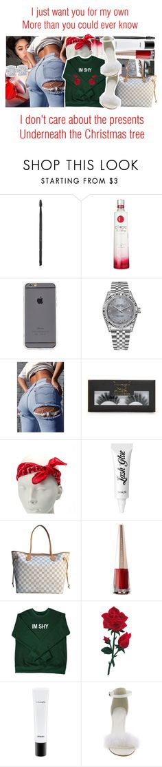 """""""All I Want for Christmas Is You x Mariah Carey"""" by juicyums ❤ liked on Polyvore featuring Charlotte Russe, Rolex, Boohoo, claire's, Benefit, Louis Vuitton, MAC Cosmetics and Effy Jewelry"""