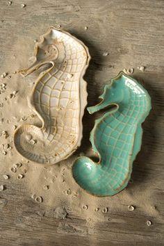 Seahorse Decorative Plates - Aqua/White - Set of 2