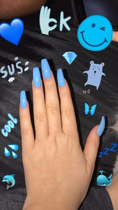 Gorgeous nails, pretty nails for summer, acrylic nails for summer, holiday acrylic nails Holiday Acrylic Nails, Blue Acrylic Nails, Summer Acrylic Nails, Holiday Nails, Acrylic Art, Summer Nails, Blue Coffin Nails, Blue Gel Nails, Light Blue Nails