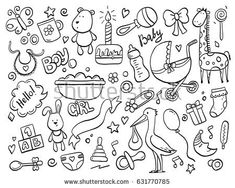 Set Hand Drawn Baby Newborn Doodle Stock-Vektorgrafik (Lizenzfrei) 631770785 - Set of hand drawn baby and newborn doodle for icon, banner. Cartoon sketch style doodle with baby g - Baby Girl Toys, Baby Girl Cards, Toys For Girls, Doodle Baby, Doodle Doodle, Pregnancy Scrapbook, Pregnancy Journal, Scrapbook Bebe, Baby Sketch