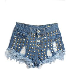 LUCLUC Dark Blue Riveted Ripped Denim Shorts ($24) ❤ liked on Polyvore featuring shorts, short jean shorts, torn jean shorts, torn shorts, distressed jean shorts and ripped shorts