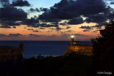 Night falling over El Castillo Del Morro, Havana, Cuba.