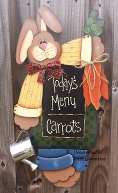 A Bunny's Menu hanger,Hand painted , primitive,Wooden Boy Easter Bunny Holiday Welcome Greeter, Home Decor