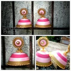 Pink and gold - Quilled Jhumka by Harshita :)