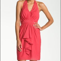 Vince Camuto Chrysanthemum  halter Dress Center front pleats gently shape the V-neck halter bodice of woven day dress featuring a charming ruffle detail and a whimsical textured dot pattern. Vince Camuto Dresses