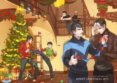 Normal BatChristmas Dick and Jason fighting over decorations, and Tim and Damian fighting for the fun of it. Yep. Nothing to see here. Wait, whats conner and Ace doing on the balcony?