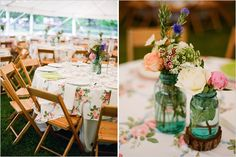 table decor at a country/vintage themed Tennessee wedding