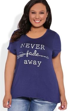 Deb Shops Plus Size Tulip Back Tee with Lace Inset and Never Fade Away Screen $15.00