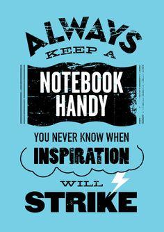 Always keep a notebook handy. You never know when inspiration will strike. @YFSmagazine #smallbiz #startups #mdsbtdc #entrepreneur www.mdsbdc.umd.edu