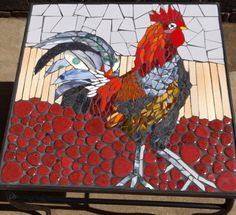 Ceramic mosaic rooster on wrought iron table SOLD