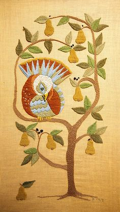 ♒ Enchanting Embroidery ♒  embroidered partridge in a pear tree piece