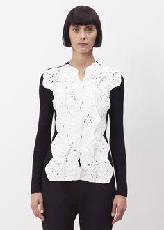 Totokaelo - Junya Watanabe Black Combo Black Sweater With White Macrame Detail