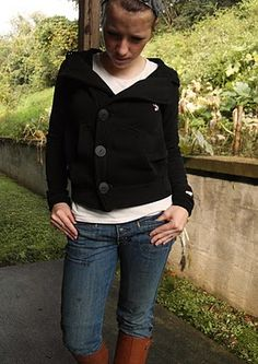 Turn a hoodie into a peacoat,  sounds fun i love sweatshirts!