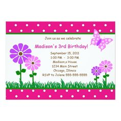 Shop Modern Butterfly Flower Birthday Girl Invitation created by Personalize it with photos & text or purchase as is! Butterfly Birthday Party, Flower Birthday, 3rd Birthday, Butterfly Flowers, Birthday Party Invitations, Rsvp, Create Your Own, Modern, 3 Year Olds