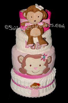 Girly Monkey Diaper Cake by swaddlestar, via Flickr