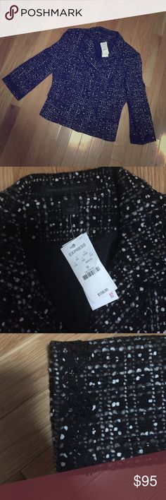 NWT Express design studio wool blazer Brand-new will blazer, women's size 10, one black white and gray pattern, fully one, three buttons on front with two pockets, fitted through back. Express Jackets & Coats Blazers