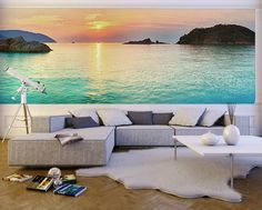 WALL MURAL INFO: This beautiful Sunrise over the sea mural can add inspiration and depth into any room. The Sunrise over Sea wall mural from Eazywallz.com offers a beautiful sunrise over the Caribbean sea. This photo mural can make any room in the house pop with excitement. PRODUCT INFO: - Material: Peel & Stick Thin Canvas - Finish: Matte - Thickness:6.0 mil No extra tools, glue, paste or water needed for hanging. This wall mural is removable, re-usable and will not damage your walls...