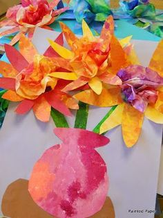 PAINTED PAPER: Bouquet still life art to create with your elementary art students. Spring Art Projects, School Art Projects, Spring Crafts, Kindergarten Art, Preschool Crafts, Kids Crafts, Diy Stamps, Arte Elemental, Coffee Filter Crafts