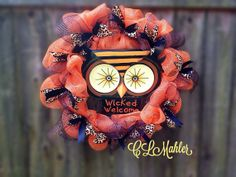 Halloween Owl Wicked Welcome leopard diva deco mesh wreath  on Etsy, $75.00