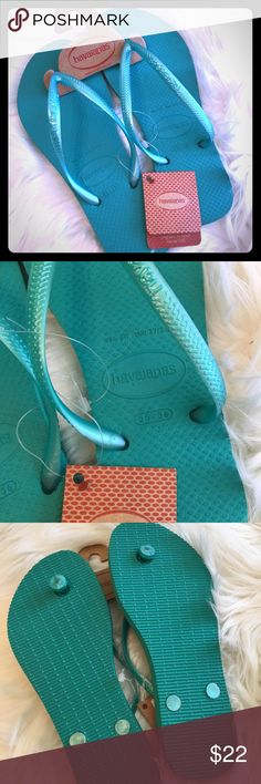 NWT Original Teal Havaianas Sz 35/36 Brand NEW Original Teal Havaianas    ⛱Sz 35/36 or 5/6 ⛱Super Comfy!!   Please feel free to ask questions...(6-79)  NOTE: 🚫Trades or off site transactions  From a Clean, 🚭Free, 🐶&🐱Friendly🏡 🎥For your protection & mine ALL sales are recorded from preparation to packaging, labeling & shipping! Havaianas Shoes Sandals